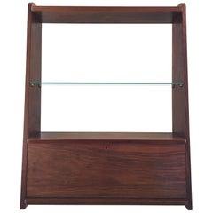 1950s Danish Walnut Wall-Mounted Shelf Cabinet
