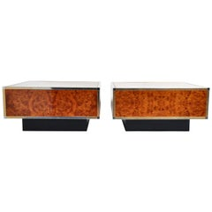 Art Deco Burl Wood Veneer Cubed Coffee Tables