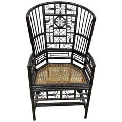 Ebonized Brighton Pavilion Highback Chinese Chippendale Armchair