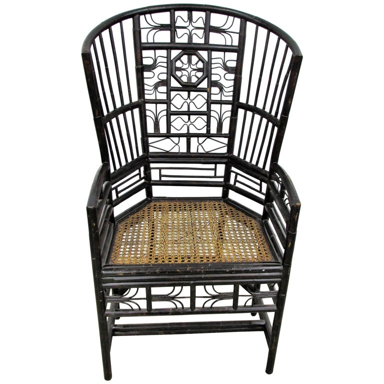 Ebonized Brighton Pavilion Highback Chinese Chippendale Armchair For Sale