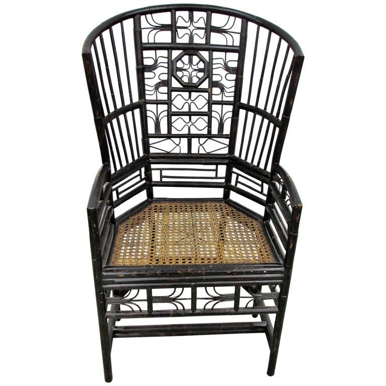 Ebonized Brighton Pavilion Highback Chinese Chippendale Armchair