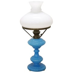20th Century Italian Table Lamp in Opal Blue Artistic Glass