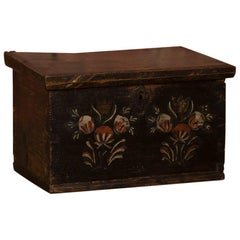 Small Antique Swedish Folk Art Painted Trunk or Box