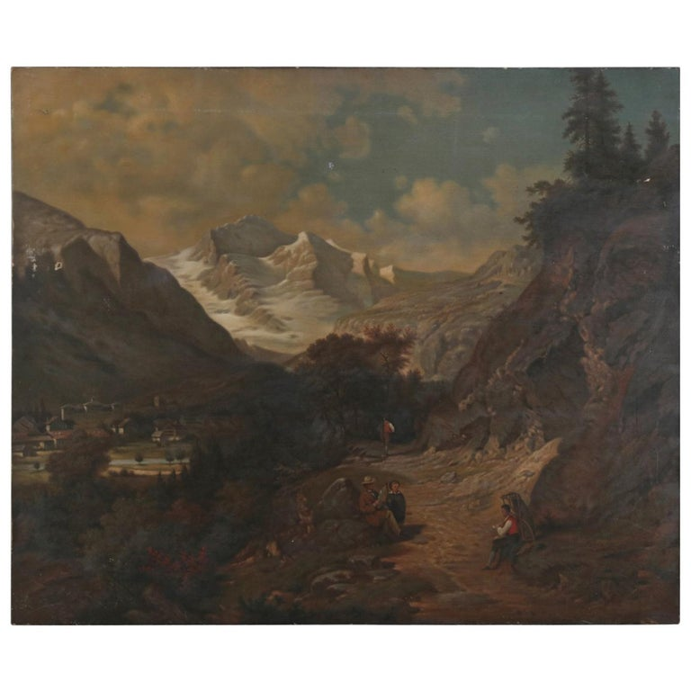 Antique Swedish Oil on Canvas Painting, Mountain Trail, Signed Erdmann