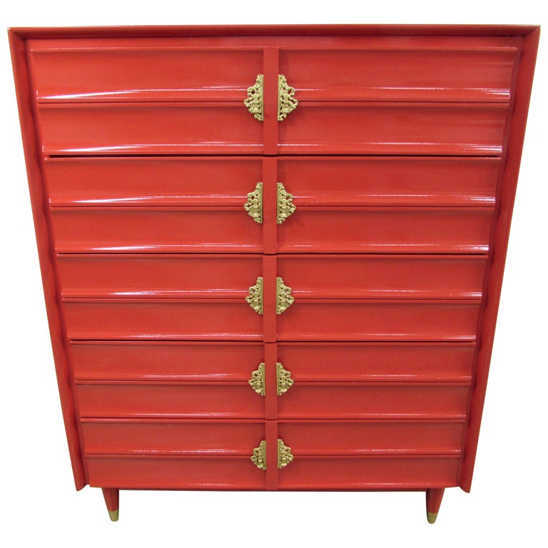 Hungerford Rave Red Lacquered Five-Drawer Chest