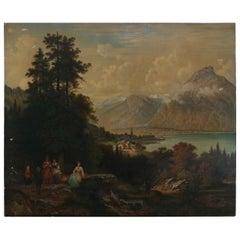 Large Antique Hudson River School Oil on Canvas Landscape Painting, circa 1900