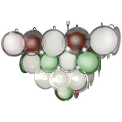 Italian Disc Chandeliers by Vistosi, Murano, 1970s
