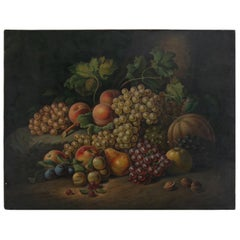 Antique Severin Roesen School Oil on Canvas Fruit Still Life Painting