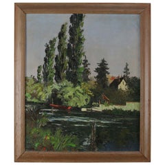 Oil on Canvas Riverscape Painting with Boat and Home, 20th Century