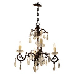 French Chandelier in Metal with Cut Crystal Accents and Prisms