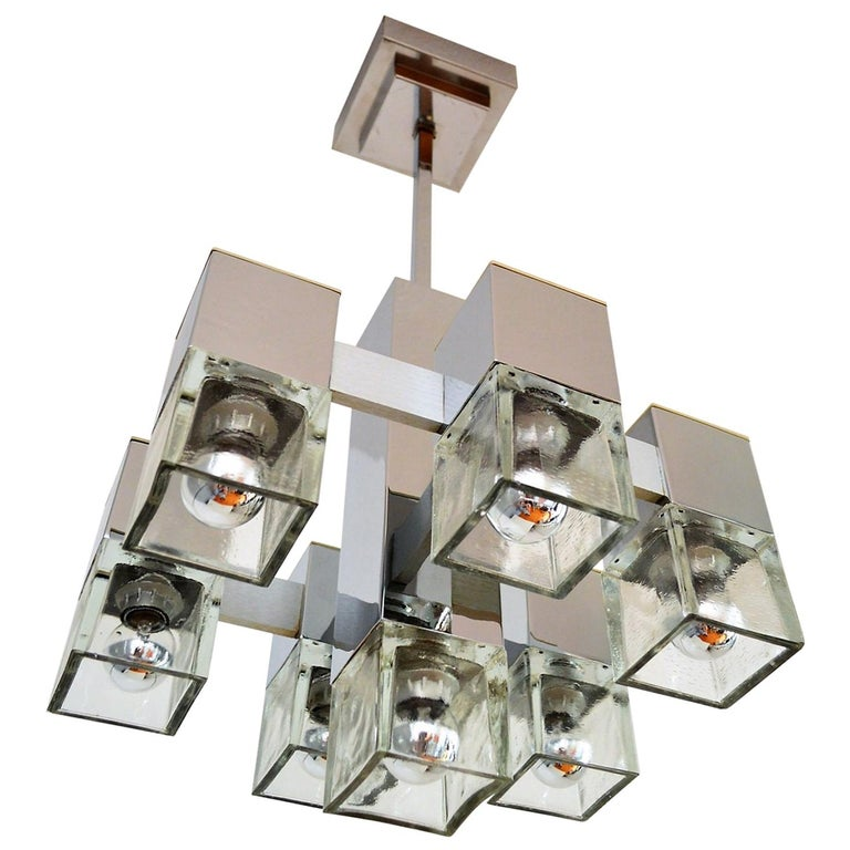 Gaetano Sciolari Italian Mid-Century Modern Cubic Chandelier, 1960s