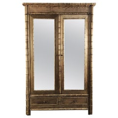 19th Century Faux Bamboo Stripped French Armoire