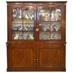 Fine English William IV Mahogany Library Bookcase with Double Arch Glazed Doors