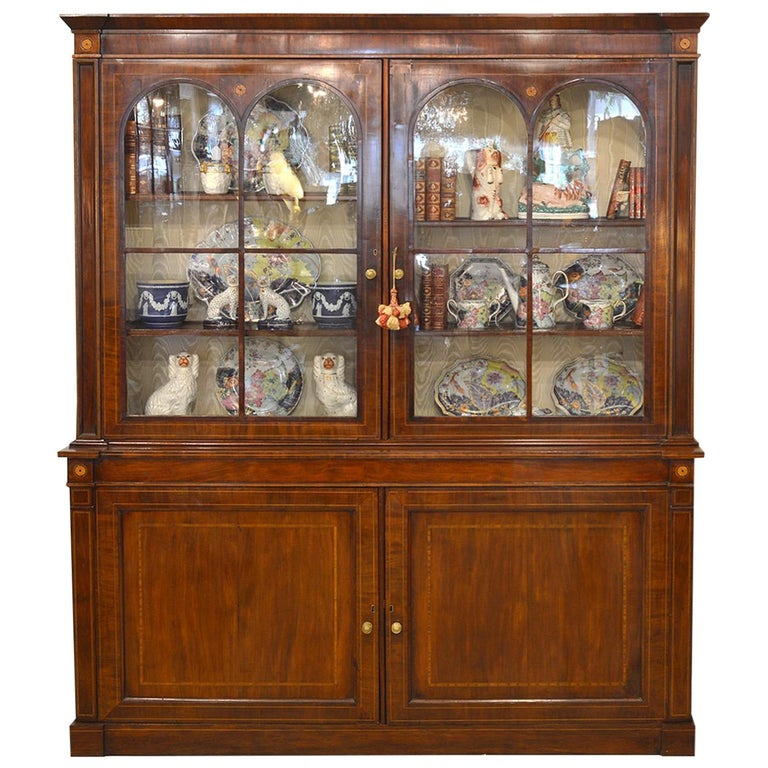 Fine English William IV Mahogany Library Bookcase with Double Arch Glazed Doors For Sale