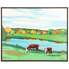 """Pat Jensen Oil On Canvas, """"Pond With Two Cows"""""""