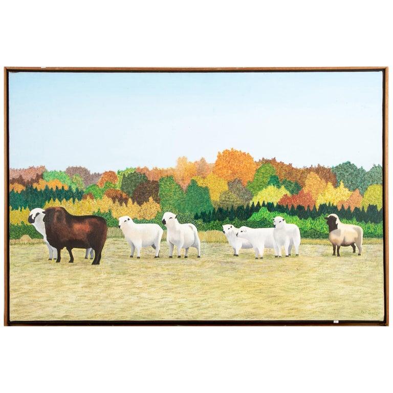 """Pat Jensen Oil on Canvas, """"Sheepscape"""" For Sale"""