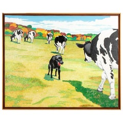 """Pat Jensen, Oil on Canvas, """"Cowscape with Dog #2"""""""