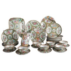 34 Piece Antique Chinese Rose Medallion Enameled Porcelain Dining Set