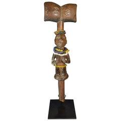 African Tribal Art Fine Old Yoruba Shango Staff