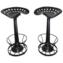 Pair of Iron Tractor Seat Bar or Kitchen Stools