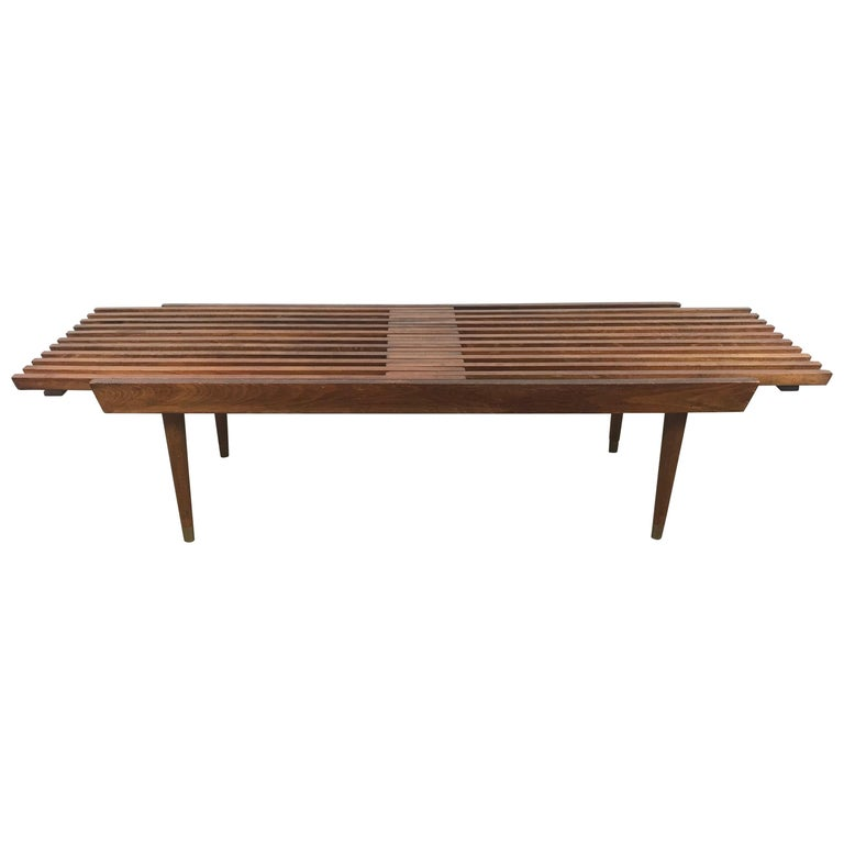 Classic Mid-Century Modern Walnut Expandable Slat Bench or Table