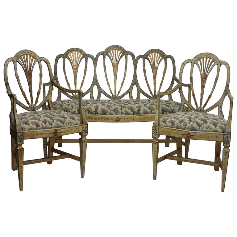 Set of Neoclassical Venetian Painted Settee and Chairs, Italian, 19th Century
