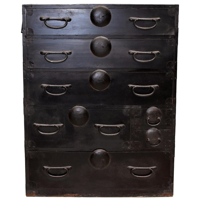 Black Japanese Tansu Chest, Meiji Period