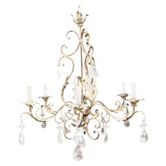Mid-Century Modern French Bagues Iron Silver Filigree Rock Crystal Chandelier