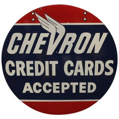 1950s Chevron Credit Cards Dealer D.S. Porcelain Sign