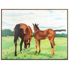 """Pat Jensen Oil On Canvas, """"Mare & Colt"""""""