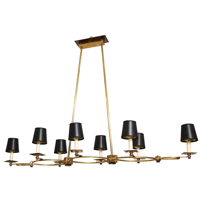 Custom Brass and Bronze Eight-Arm Fixture in the Midcentury Manner