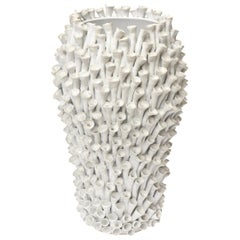 Organic Modern Sculptural White Ceramic Sculpture/ Vase/ Vessel