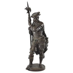 "19th Century ""Lansquenet with Halberd"" by Albert Ernest Carrier -Belleuse Bronze"
