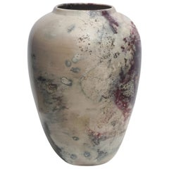 Large Raku Style Ceramic Vase by Joel Magen