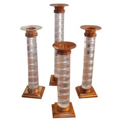 Dolbi Cashier Lucite and Brass Candlesticks