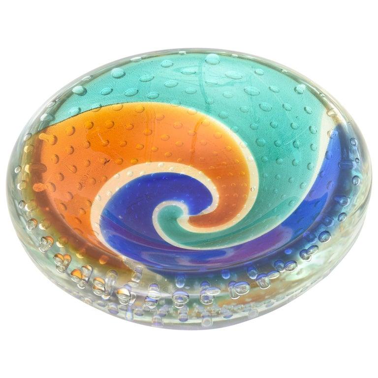 Italian Murano Midcentury Archimede Seguso Bullecante Sommerso Glass Bowl