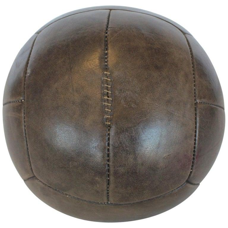 Large Vintage Hand-Stitched Leather Medicine Ball