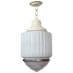 Antique Department Store Milk Glass Pendant Light
