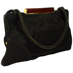 1930s Art Deco French Suede Hand Bag