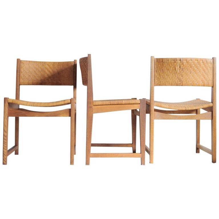Oak and Cane Dining Chairs designed by Peter Hvidt & Orla Mølgaard-Nielsen
