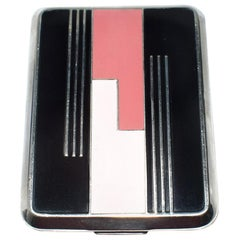 Art Deco Geometric Enamelled Ladies Powder Compact Du Barry