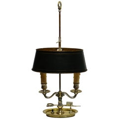 French Empire Nickel Plated Brass Bouillotte Lamp, Early 19th Century