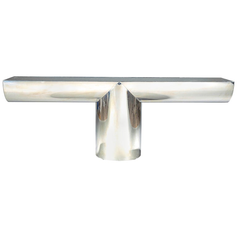 """J. Wade Beam for Breuton Stainless Steel and Glass """"Tee"""" Console For Sale"""