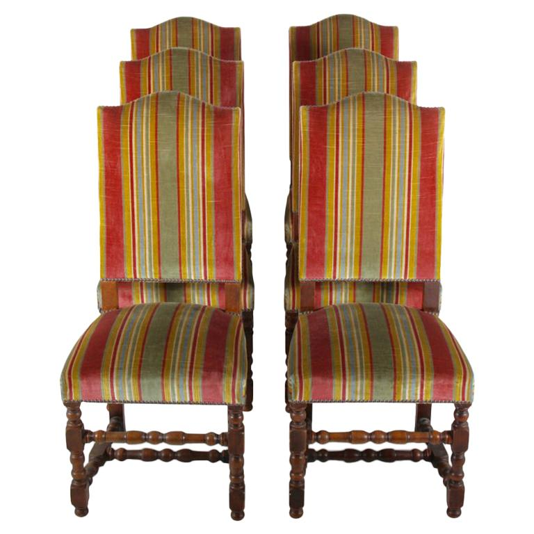 Set of Six French Oak-Frame Dining Chairs