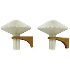 Le Klint Pair of Oak Wall Lamps by Vihelm Wohlert, Model 204, 1950s