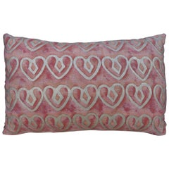 Blush Fortuny Pillow with Hearts