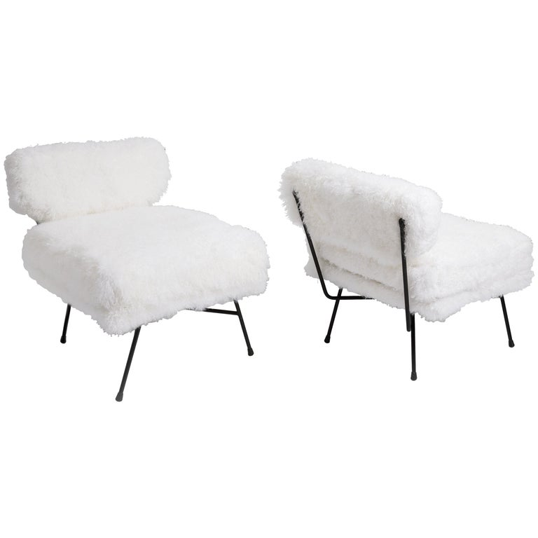 BBPR for Arflex Pair of 'Elettra' Lounge Chairs in White Lamb Fur, Italy, c 1953