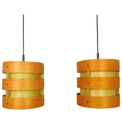 Pair of Wooden Pendant Lights from Zicoli, Germany, 1970s