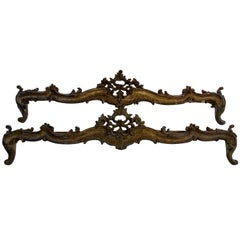 18th Century Italian Rococo oxidized silvered wooden Valances