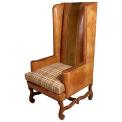 Antique French Winged High Back Leather Armchair, circa 1890